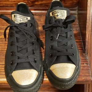 Black & Gold Converse Sneakers